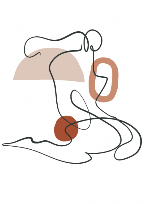 Abstract Line Woman With Shapes